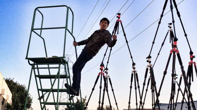 World's Biggest Camera Tripod Christmas Tree (video)